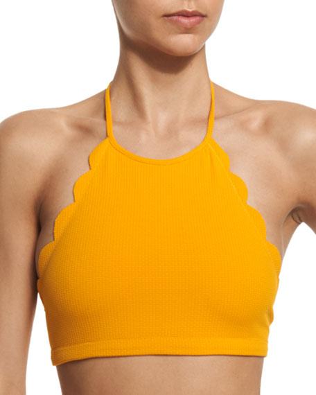 Marysia Mott Scalloped High-Neck Halter Swim Top