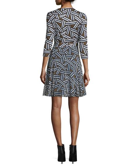 24dd76dabce8 Diane von Furstenberg Irina 3/4-Sleeve Ribbon Rectangles Combo Dress ...