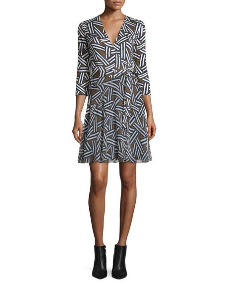 98aa48e752eb Diane von Furstenberg Irina 3/4-Sleeve Ribbon Rectangles Combo Dress, Khaki