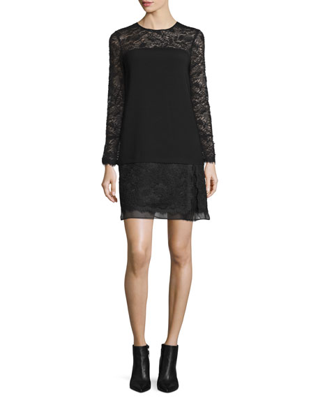 Lavana Long-Sleeve Lace Shift Dress, Black