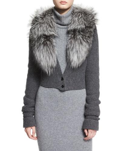 Lory Fox-Fur Collar Cropped Cardigan, Charcoal
