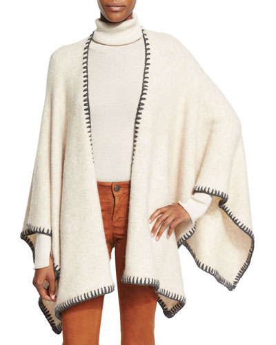Kamala Solid Oversized Poncho, Cream
