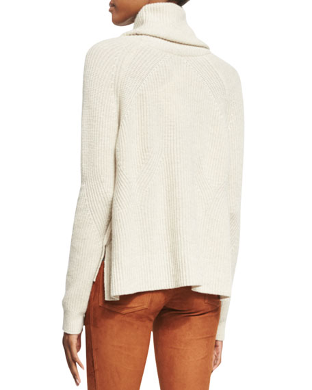 Nettie Transfer-Knit Ribbed Sweater, Cream