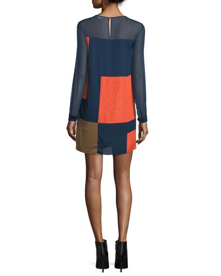 Raegan Long-Sleeve Silk Colorblock Mini Dress, Orange/Midnight/Khaki