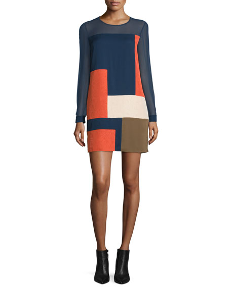 Raegan Long-Sleeve Silk Colorblock Mini Dress, Orange/Midnight/Khaki