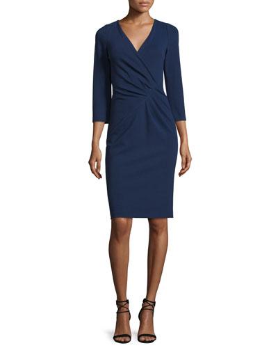Lenora 3/4-Sleeve Surplice Dress