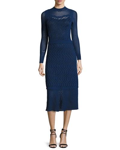 Long-Sleeve Mock-Neck Openwork Midi Dress, Navy