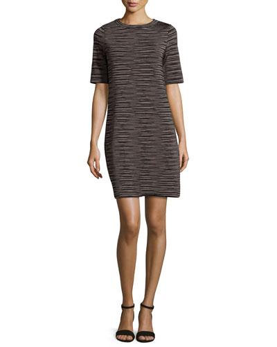 Short-Sleeve Space-Dyed Shift Dress, Petal