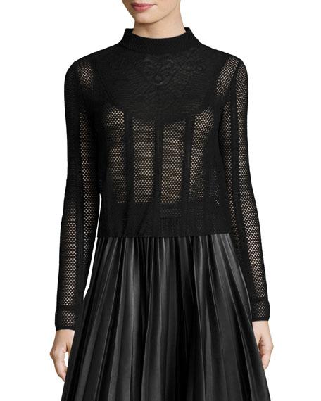 Long-Sleeve Lace-Bib Mesh Top, Black