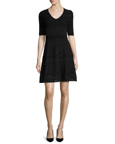 Short-Sleeve Mix-Stitched A-Line Dress, Black