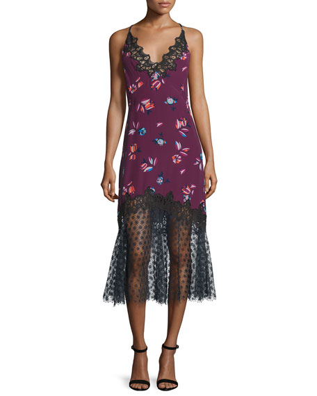 Floral-Print Lace-Combo Slip Dress