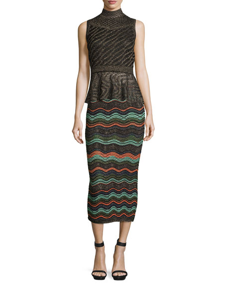 Ripple-Stitch Lurex® Convertible Tube Skirt, Black