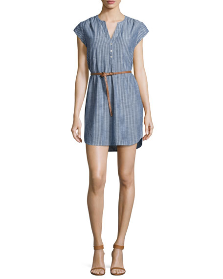 Joie Neha Striped Belted Shirtdress, Sailor Blue