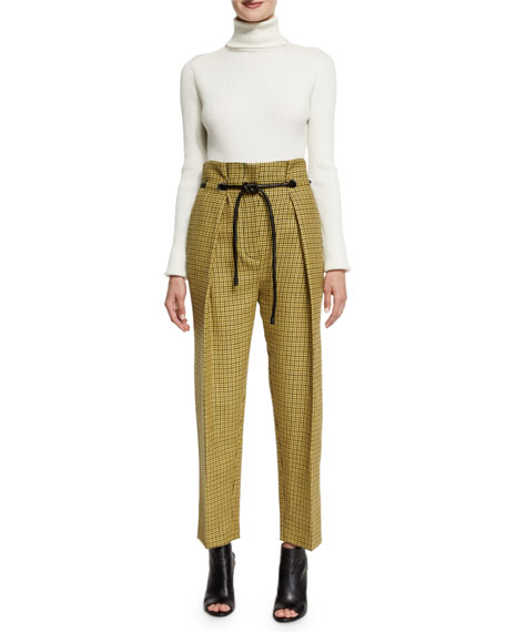 Belted Houndstooth Wool Pants, Yellow/Multicolor