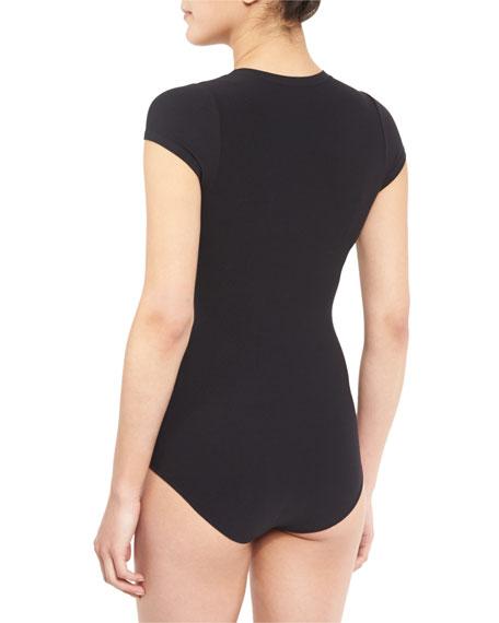 Tace Tubular Cap-Sleeve Crewneck Bodysuit, Black