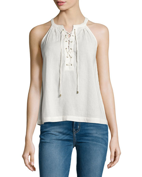 Joie Arabeth Sleeveless Lace-Up Top, Natural