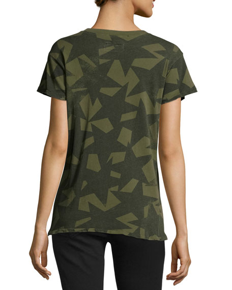 The Crewneck Star-Print Tee, Army Green