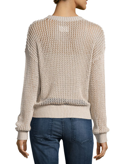 The Zigzag Open-Knit Sweater, Oatmeal