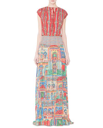 Lorelle Havana Town Tie-Neck Maxi Dress, Multicolor