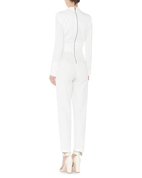 Violetta Long-Sleeve Tuxedo Jumpsuit, Cream