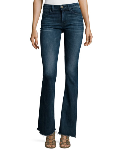 Heather High-Waist Flare-Leg Jeans, Triton