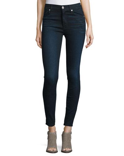 Barbara High-Waist Super-Skinny Denim Jeans, Night Vision