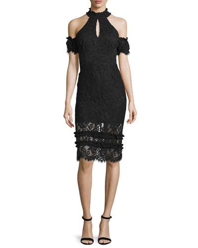 Dax Lace Cold-Shoulder Sheath Dress, Black