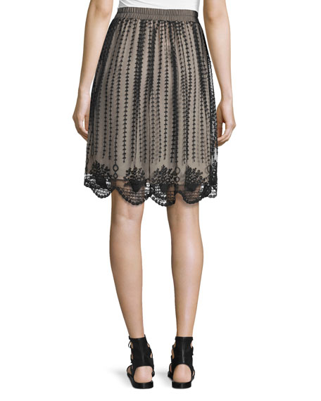 Embroidered Sheer-Overlay Skirt, Black