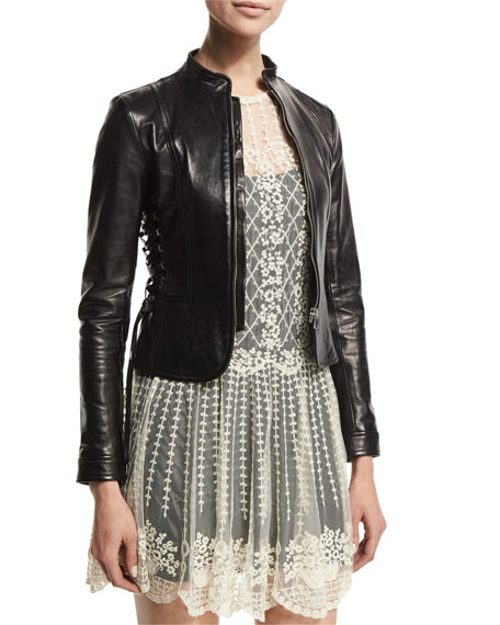Fitted Lace-Up Leather Jacket