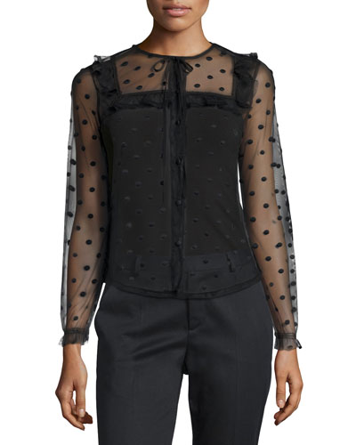 Long-Sleeve 3D Polka-Dot Blouse, Black