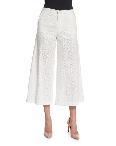 Wide-Leg Cropped Cotton Lace Pants, White