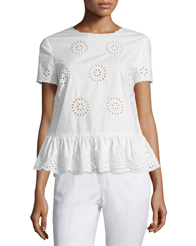 Sangallo Cotton Lace Peplum Blouse