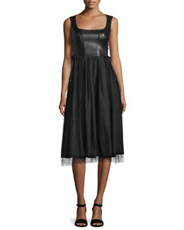 Sleeveless Leather and Point d'Esprit Skirt Dress, Black