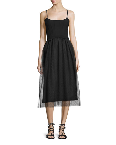 Sleeveless Combo Midi Dress, Black