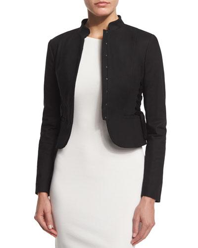Cropped Jacket W/Lace-Up Sides, Black