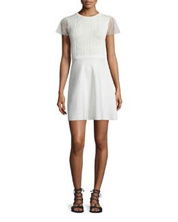 Point d'Esprit-Sleeve A-line Dress
