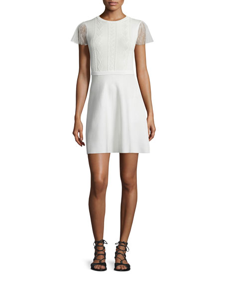 RED Valentino Point d'Esprit-Sleeve A-line Dress