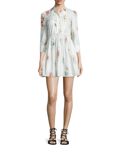 3/4-Sleeve Framed-Floral Shirtdress, Latte