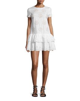 Short-Sleeve Layered-Hem Tunic Dress, White