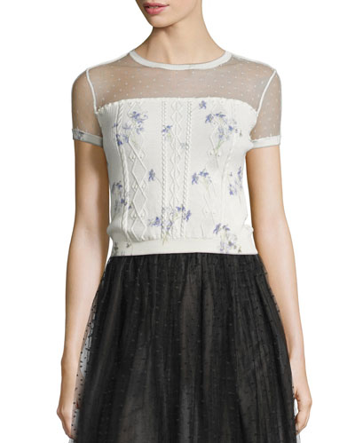 Violet-Print Short-Sleeve Top, Ivory