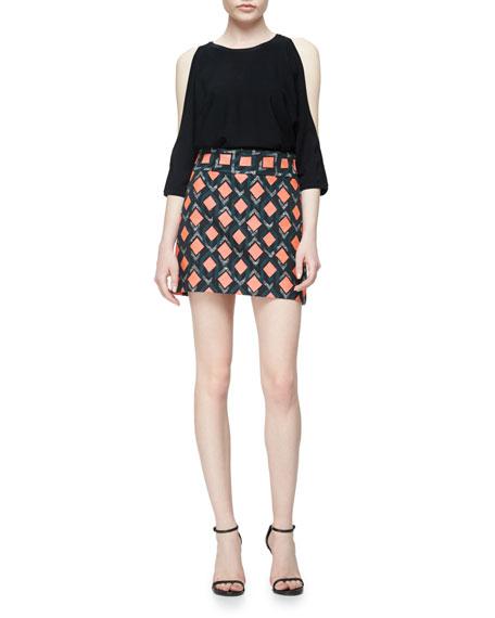 Diamond-Print A-Line Mini Skirt, Multi Colors