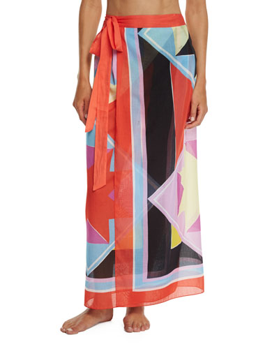 Monreale Printed Wrap Maxi Skirt Coverup
