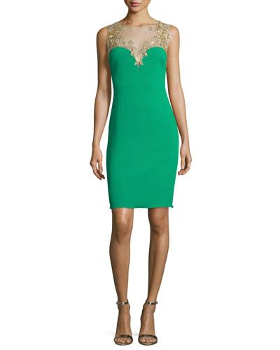 Sleeveless Embroidered Sweetheart Sheath Dress, Emerald