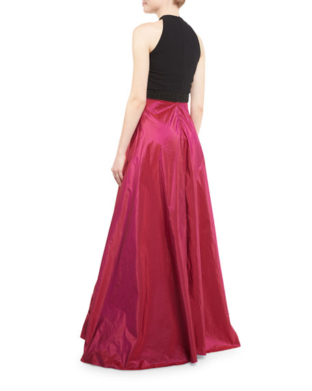 Sleeveless Beaded Jersey & Taffeta Ball Gown, Black/Magenta