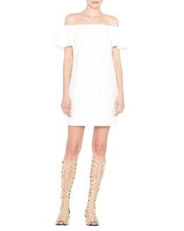 Tula Off-the-Shoulder Poplin Shift Dress, White