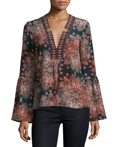 Paisley Silk Bell-Sleeve Top, Dark Green