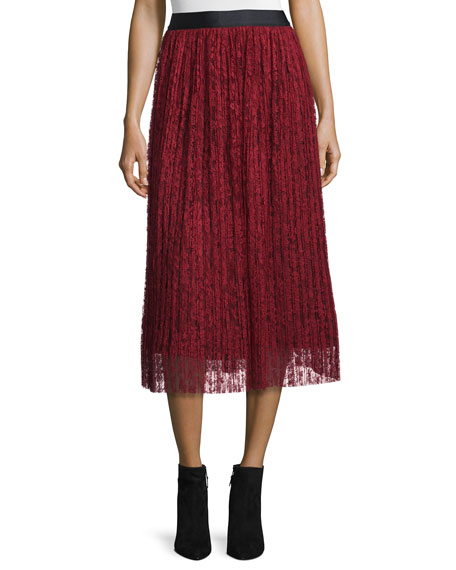 Mikaela Pleated Lace Midi Skirt