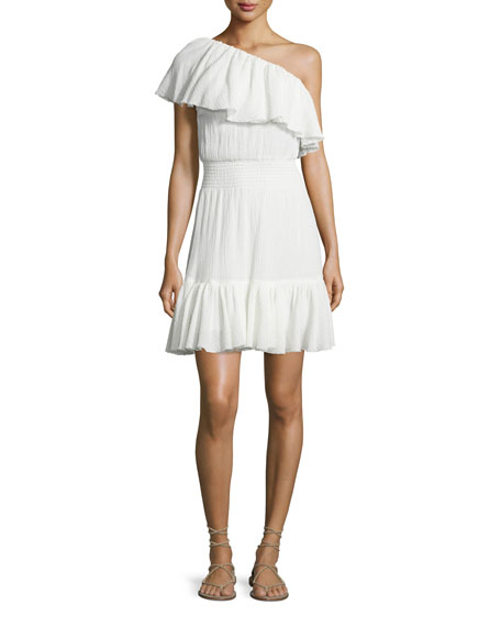 One-Shoulder Tiered Gauze Dress, White