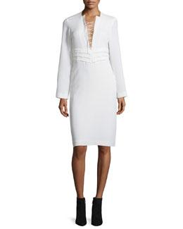 Payda Lace-Front Sheath Dress, Ecru