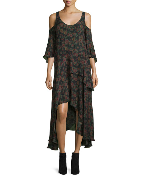 Yvana Floral Silk Cold-Shoulder Midi Dress, Black/Khaki